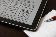 wireframe, ipad, pencil & notebook
