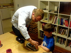 austin giving nick a tour of his model cars   DSC00461