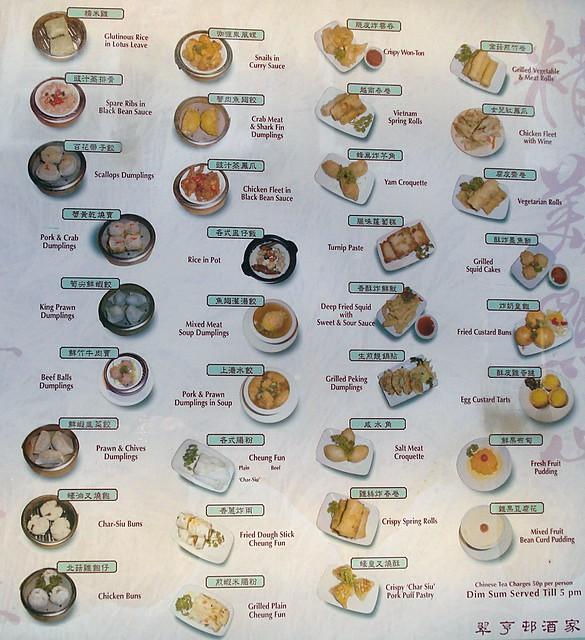 "Dim sum menu at ""London Chinatown"", Chinatown, L…"