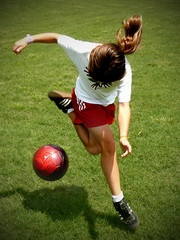 [Free Images] Sports, Ball Games, People, Children - Little Girls, Association Football ID:201205011200
