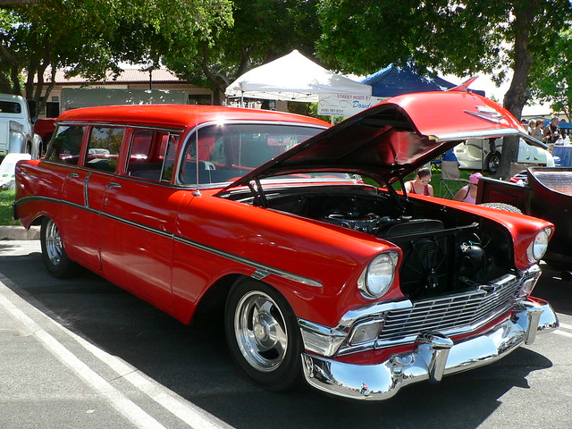 Red 1956 4 door chevy wagon flickr photo sharing for 1956 chevy wagon 4 door