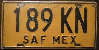 "MEXICO SAF ""Provisional"" bus plate 1992-98"