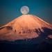 Full moon set in Red Fuji by shinichiro*@TOHOKU