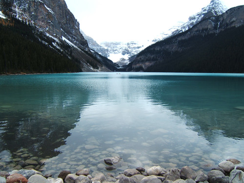 Walking around Lake Louise