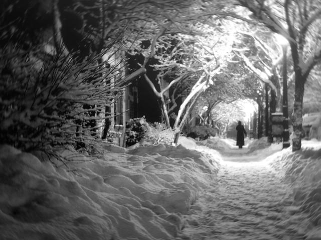 Dark shadows on a chilly stormy winter night