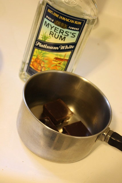 Melting Chocolate with rum
