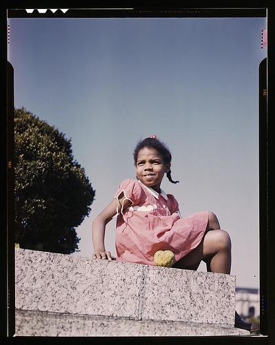 Little girl in a park near Union Station, Washington, D.C. (LOC)