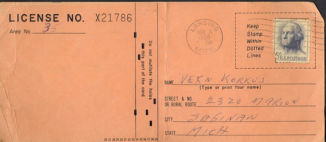 1964 michigan resident anterless deer hunting license for Michigan non resident fishing license