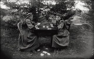 Girls playing cards
