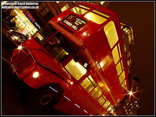 London Routemaster Bus at Night