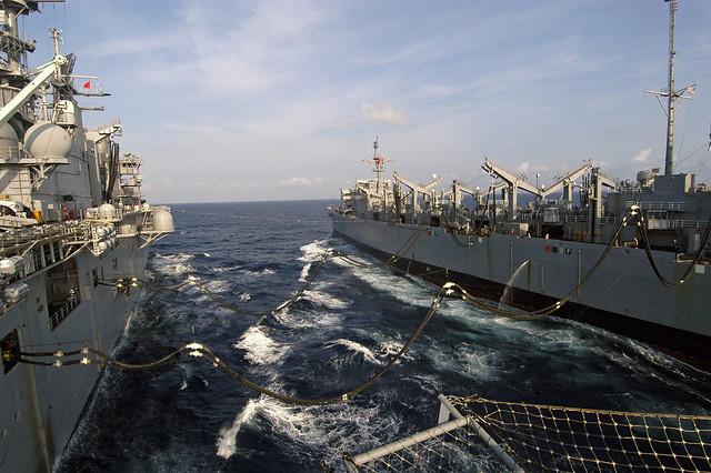 USS Camden (AOE-2) refuels USS Bataan (LHD-5)
