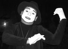 mime artist, monochrome photography, black-and-white, person,
