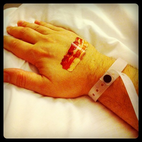 First 2 thoughts on waking up today: 1. Why am I in hospital ? 2. What kind of hospital uses bacon strip Band-Aid ?