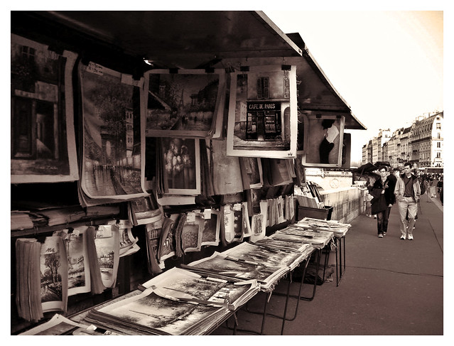 Stalls of the bouquinistes in Paris. Photograph