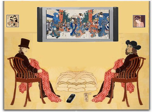 European Silk Merchants watch TV in Yokohama