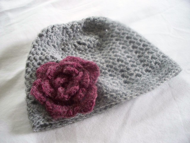 Crocheting Too Tightly : Pink and Grey Crocheted Hat Made from the Flower Hat patte ...