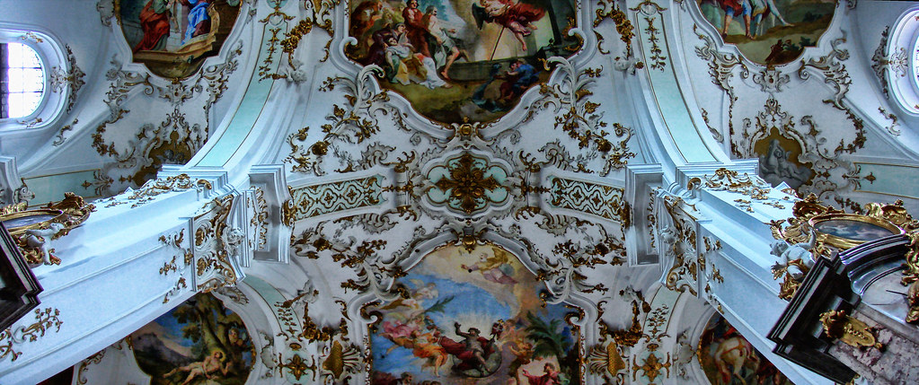 a view to a baroque church ceiling