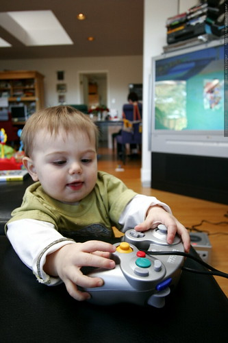 the moment nick's back is turned, sequoia takes the gamecube for a test spin    MG 7868
