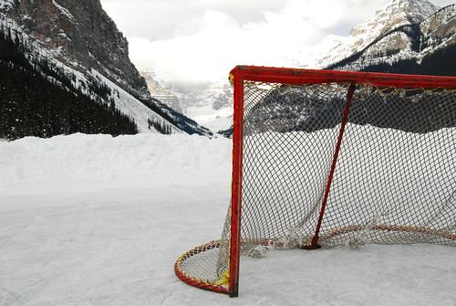 Hockey net in the snow
