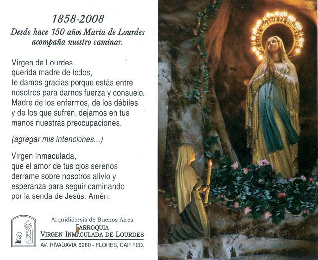 Dia De La Virgen De Lourdes: Estampa Jubilar Con Oración