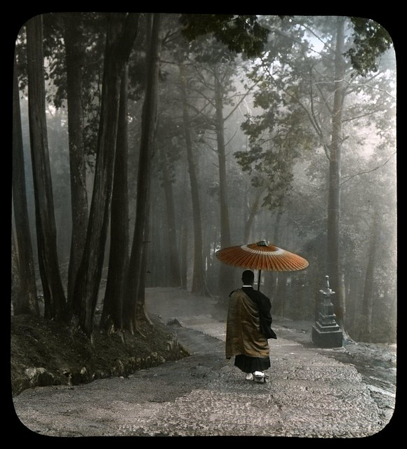 MONK DESCENDING TEMPLE STEPS -- Light Breaks Through Clouds After a Morning Rain