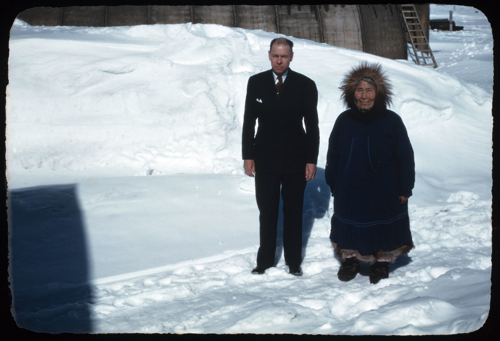 21 Mary Igloo and Rev. Dybvig, Igloo Alaska April 22, 1949