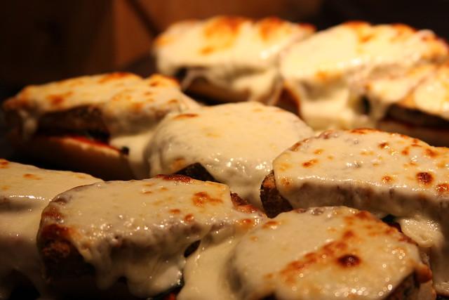 open-faced eggplant parmesan sandwiches