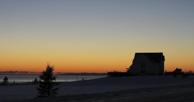 Sunset on the Atlantic Ocean in Gaspesie, Quebec, Canada