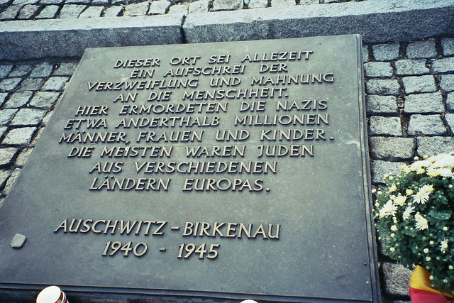 Auschwitz-Birkenau - Holocaust memorial plaque in German