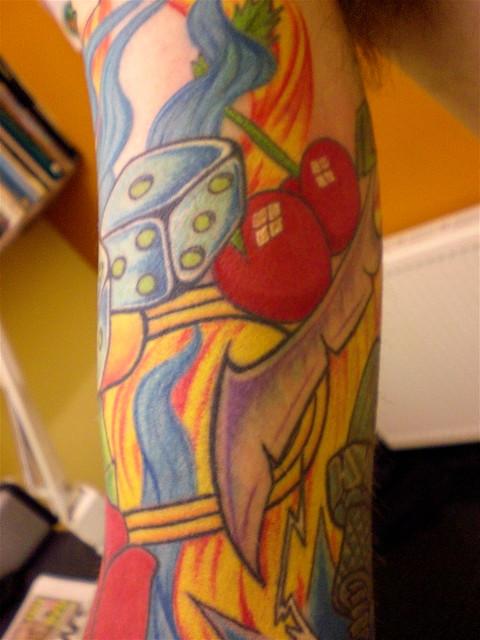Cherrys dice cut throat flames part of sleeve tattoo for Cut throat tattoo