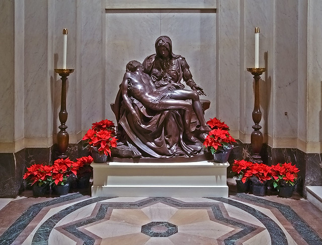 Cathedral Basilica of Saint Louis, in Saint Louis, Missouri, USA - Pietà, decorated for Christmas