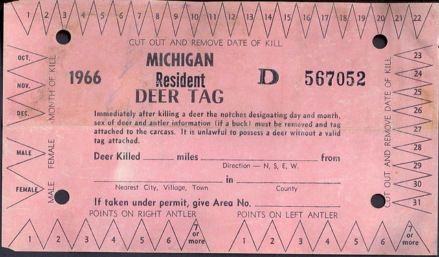 1966 michigan resident deer hunting license kill tag for Michigan non resident fishing license