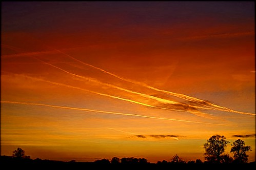 Sunday contrail sunset