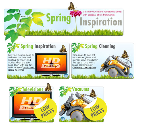 2008 Spring Campaign landing asset detail concept for Comet Group Plc