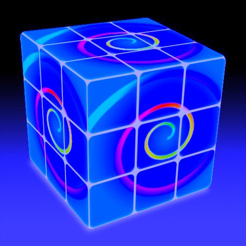 Blue spiral cube