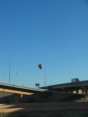 Hot air balloons over Albuquerque's Big I