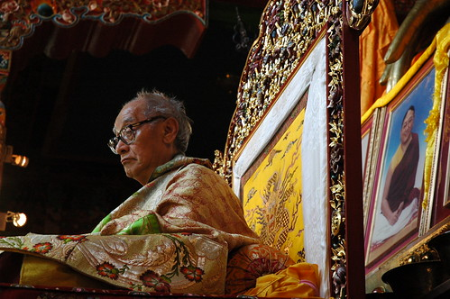 His Holiness Jigdal Dagchen Sakya, on the throne in formal silk garment, with photo of Sakya Trizin, Tharlam Monastery, Boudha, Kathmandu, Nepal by Wonderlane