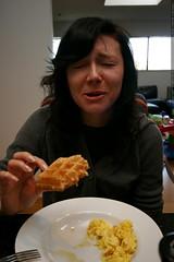 aunt megan having sourdough waffles    MG 7859