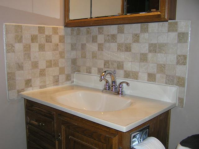 finished bathroom sink back splash flickr