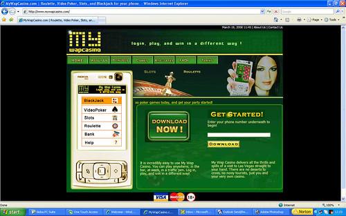 MyWapCasino New Web Site Design : Game Menu