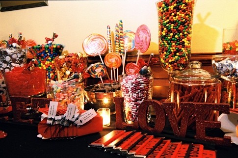 multicolored candy buffet if you enjoy looking at my wedding inspiration