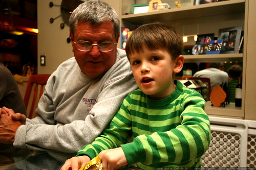 nick having dessert, aka pudding, beside his grandpa david   IMG 1282