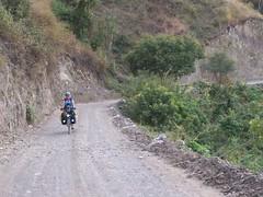 Nancy riding down to San Luis Jilotepeque