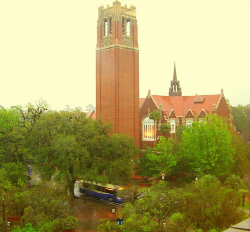 universityofflorida fl gainesvillefl wetday centurytower universityauditorium 5photosaday almostspringbreak fromthe5thfloormarstonsciencelibrary