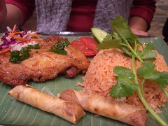 Crispy Skin Chicken and Tomato Rice, Spring Roll, Longan Drink - Combo 4 - Vietnamese Grill Bar