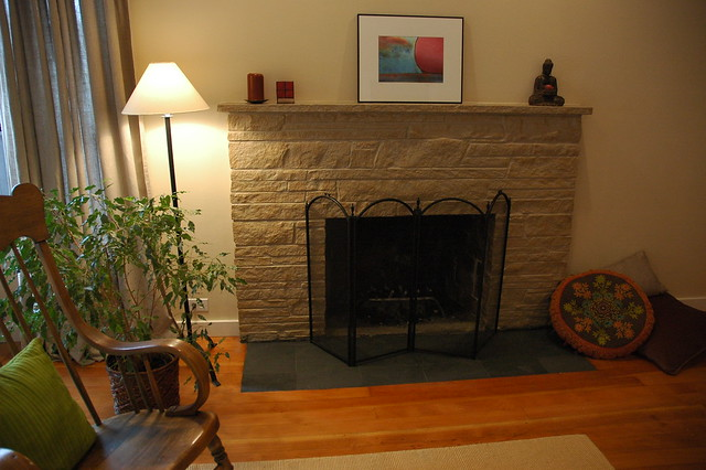 Zen Style Painted Stone Fireplace Makeover With Flat