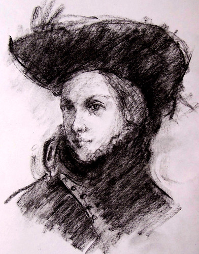 charcoal drawing: girl with a big hat