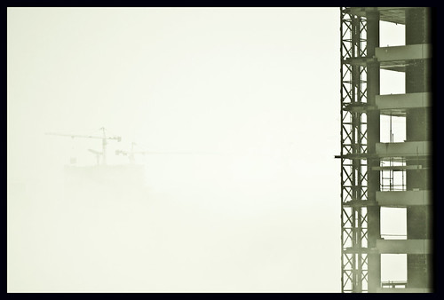 Construction in fog at 30 floors