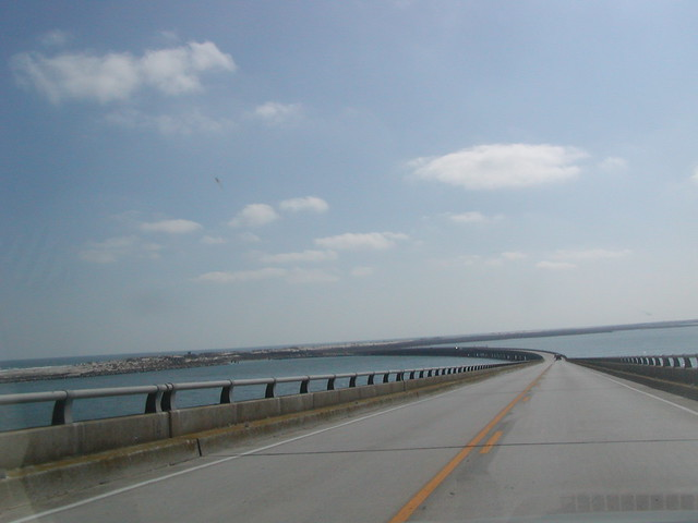 NC - Exiting the Bonner Bridge on the South End at Pea Island, which has merged with Hatteras Island