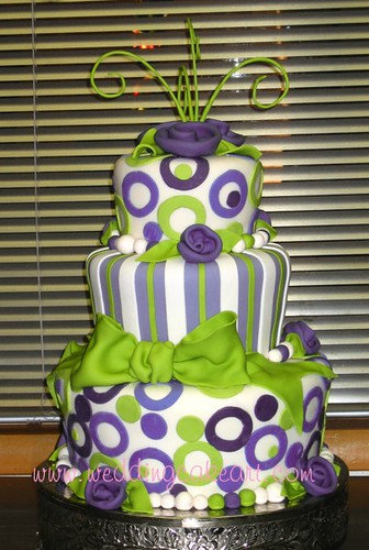 Whimsical purple and green cake